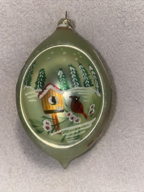 """Large Blown Glass Christmas Tree Ornament w/ Hand Painted Indent 5"""""""