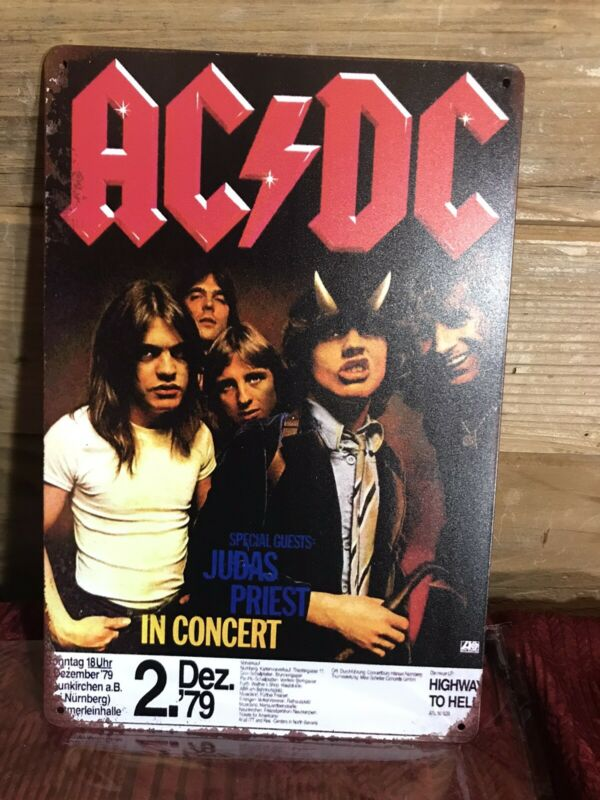 """AC/DC HIGHWAY TO HELL 79 Tour Metal Sign Tacker Guest Judas Priest 8""""x12"""""""