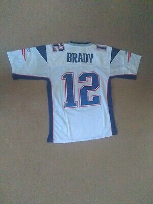 New England Patriots White NFL Shirt Jersey #12 Tom Brady Size 48 Medium