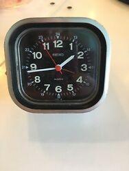 Seiko Retro 80s Alarm Clock Silver Plastic Angle Box Square Military Time
