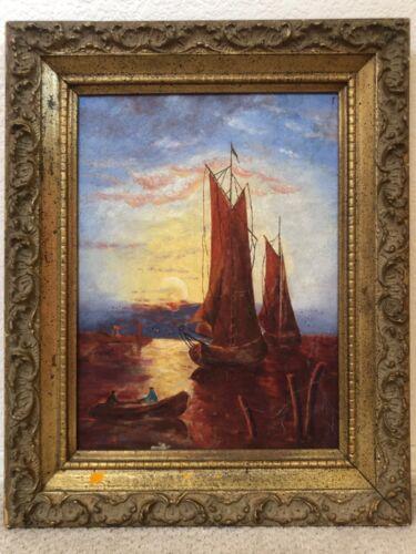 🔥 Antique Tonalist Impressionist Seascape Nautical Oil Painting, Signed