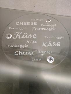 Glass cheese platter 32cms width