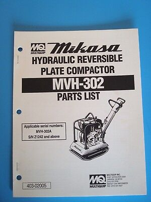 Mq Hydraulic Reversible Plate Compactor Mvh-302 Parts List Manual