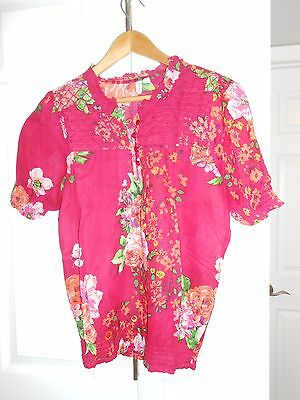 Cotton Daisy  Zulily  Hibiscus Pink Floral Smocked Short Sleeve Top Small Bnwt