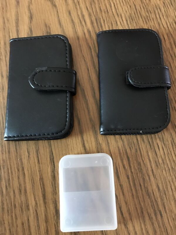 Lot Of 3 SD Memory card holder 2 Leather case 1 Plastic