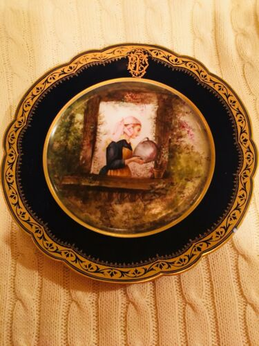 "Antique Rare Set - 12 Cobalt Blue & Gold Cabinet Portrait Plates Signed ""Picard"""
