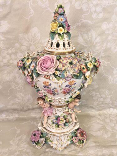Antique Sitzendorf Porcelain Potpourri Urn w/ Topper w/ Cherubs & Provenance