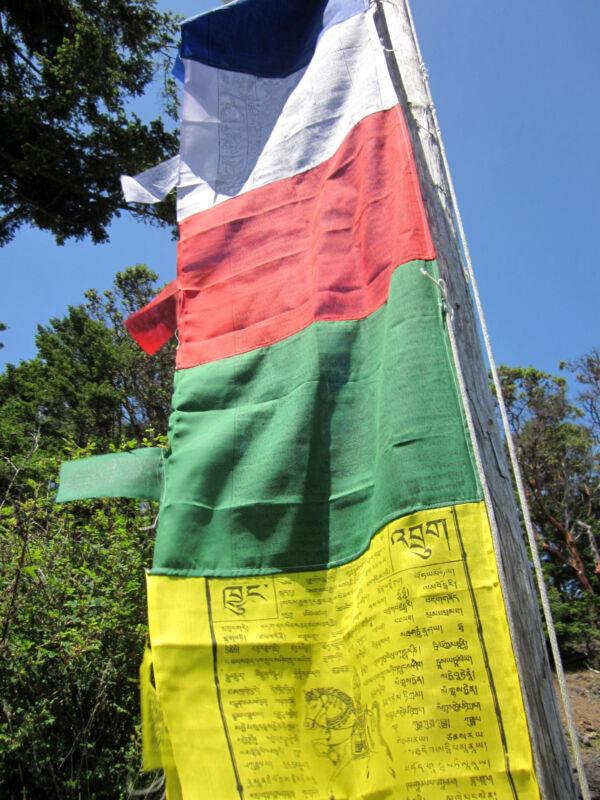 5 COLORS TIBETAN BUDDHIST VERTICAL BANNER POLE PRAYER FLAGS DARCHOR NEPAL