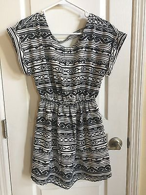 Fun And Flirt Small Short Polyester Dress Black And White CB-D25 ()