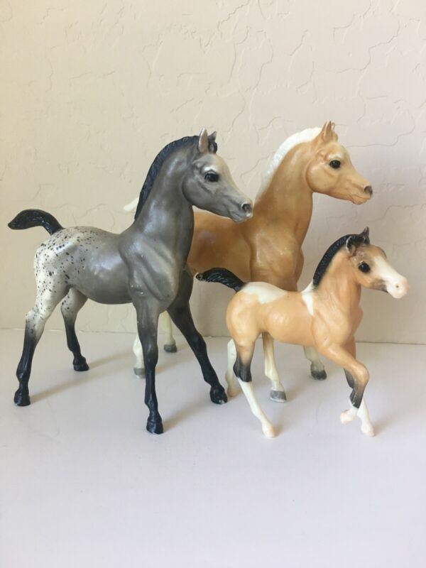 "VTG LOT BREYER MOLDING 6"" COLT HORSE FOAL APPALOOSA GRAY BLACK MANE PALOMINO TAN"