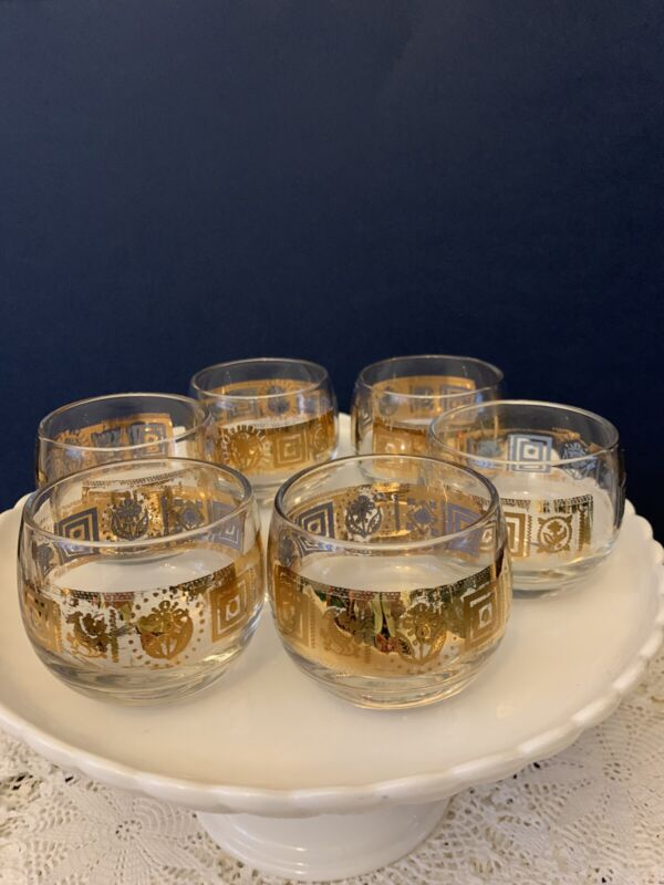 Mid Century Culver Gold Roly Poly Highball Glasses Set of Six
