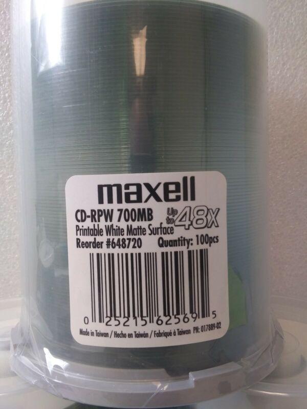 MAXELL 648720 100PK CDR PRINTABLE WHITE MATTE ***NEW SEALED