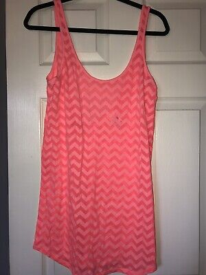 Victoria's Secret Neon Pink Beach Chevron Shirt Dress S Tank Top Sheer Cover Up