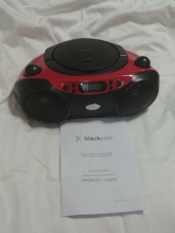 BLACKWEB BLUETOOTH CD PLAYER W/FM RADIO, RED/BLACK