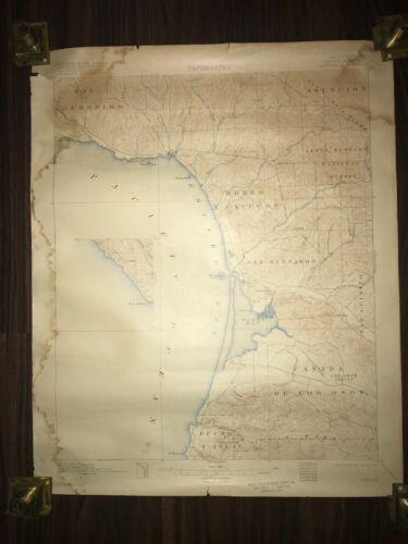 1917 CALIFORNIA COAST LINE CAYUCOS CA GEOLOGICAL TOPOGRAPHY RARE ANTIQUE MAP