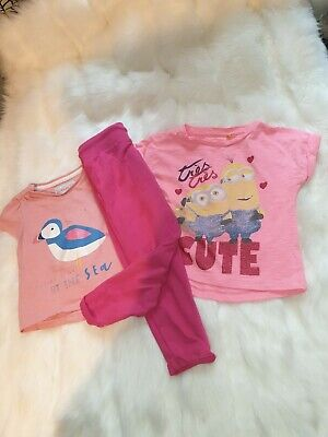 Girls 18-24 Months Top T-shirts joggers bundle outfit Minions Bird Next - Minion Baby Outfit