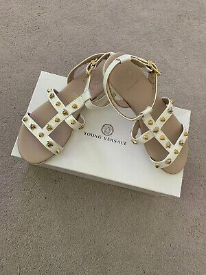 Girls Designer Sandals YOUNG VERSACE White leather gold studs! size UK 2.5 VGC!
