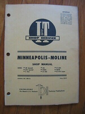 Minneapolis Moline Ub Uts Special 5 Star M 504 602 604 670 Tractor It Manual