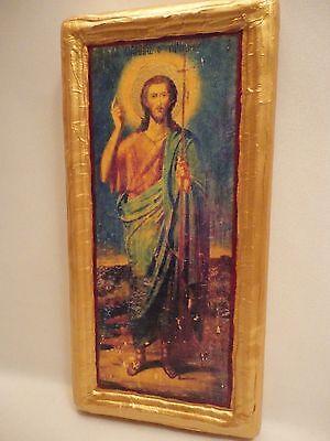 Saint John Prodromos Agios Ioannis O Prodromos Greek Orthodox Icon Wood Plaque