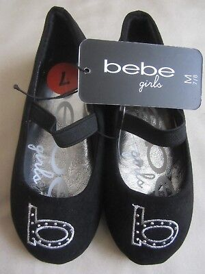 Bebe Girls Ballet Flats Shoes Toddler Girls Size 7 Black Silver New With Tag