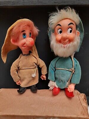 Rare VINTAGE 2 OF 7 DWARF DISNEY DOPEY HAPPY TOYS DOLLS COLLECTABLE 1970'S