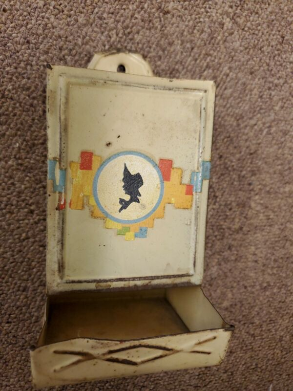 Vintage Metal Tin wall mount Match Holder, silhouette of lady on front