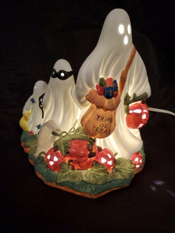 Vintage 1993 Prettique Itty Bitty Boo Ceramic Handpainted Ghost Light Halloween