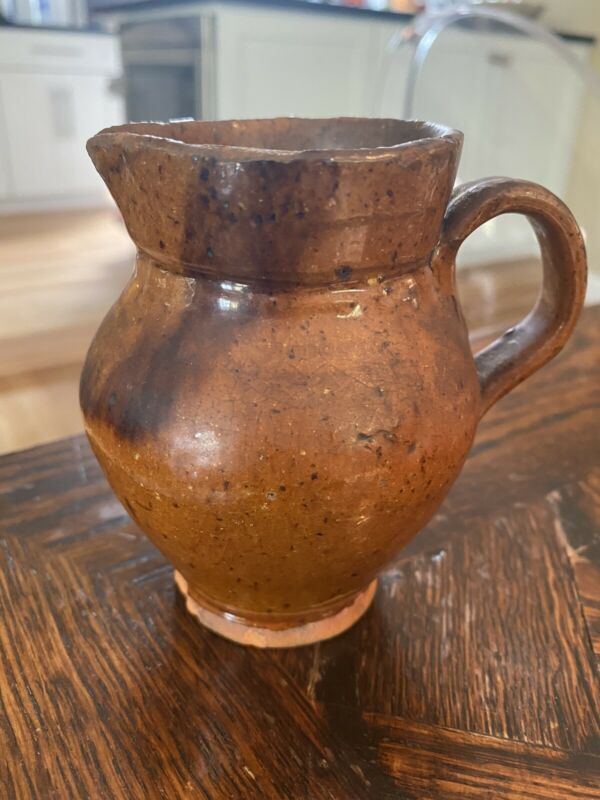 Antique American REDWARE small pottery PITCHER