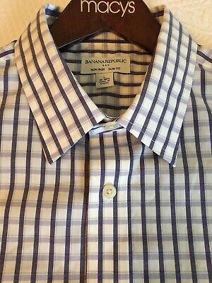 Banana Republic Mens Dress Shirt Size Large 16-161/2  Slim Fit Non-Iron Dress Shirt Sizes