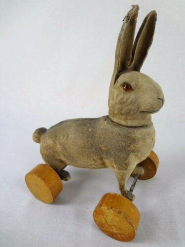 Flocked Easter Bunny Rabbit - Antique Paper Mache Candy Container; Pull Toy