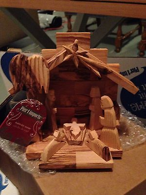 Pier 1 Imports Christmas Hand Carved in Israel Wooden Nativity - NEW!