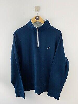 Navy Nautica Quarter Zip Lightweight Sweatshirt