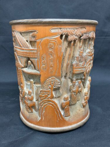 CHINESE ART CARVED BAMBOO BRUSH POT