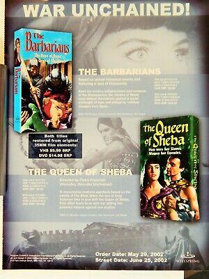 QUEEN OF SHEBA / BARBARIANS ADV EURO  VTG FILMS (VIDEO DEALER  BROCHURE 1990S)  na sprzedaż  Wysyłka do Poland