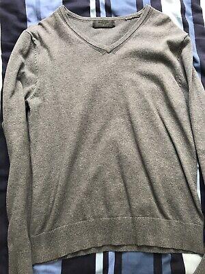 Burton London Grey V Neck jumper knit small Men's Rrp £50 Formal Casual