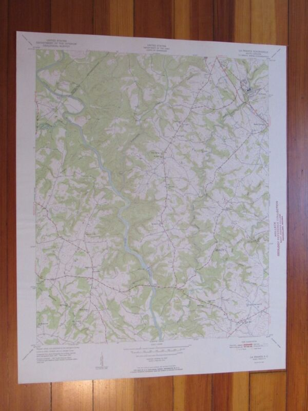 La France South Carolina 1951 Original Vintage USGS Topo Map