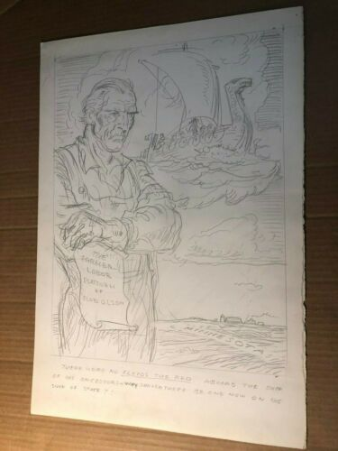 Rare Original Illustration Art Oscar Cesare 30s MN Governor Floyd B. Olson