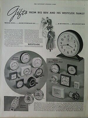 1938 Big Ben Westclox alarm clocks pocket watch vintage original ad