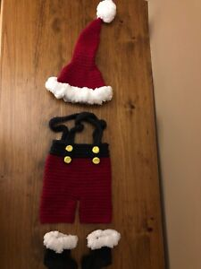 Infant knitted Santa suit