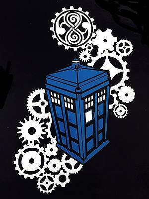DOCTOR WHO TARDIS Gears Two-color Vinyl Decal - for car, laptop, whatever!
