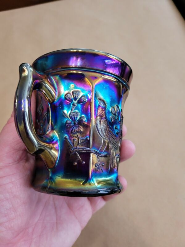 Northwood Electric Blue Carnival Glass Singing Bird Mug Awesome Color