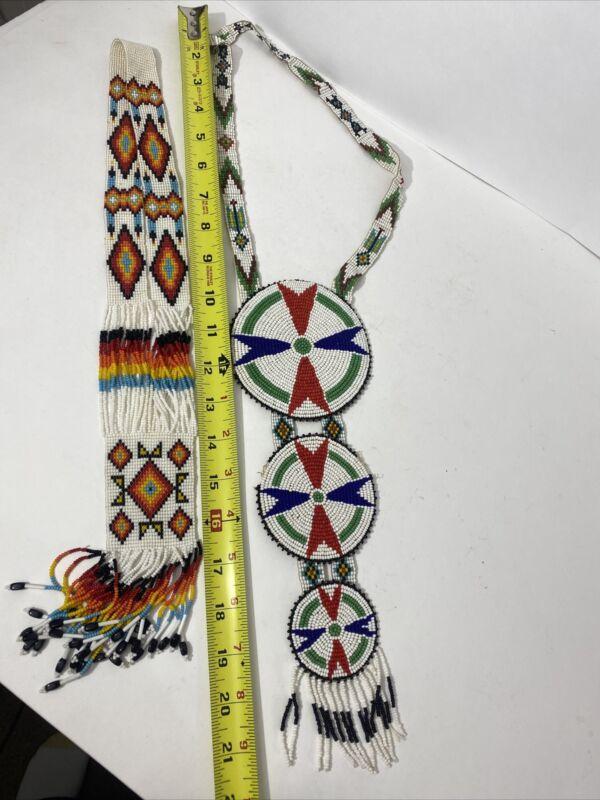 Vintage Tribal Sashes American Indian Styled Orange Blue Green Geometric Beaded
