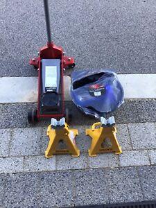 Trolley Jack, axel stands, oil changing kit and DeWalt grinder
