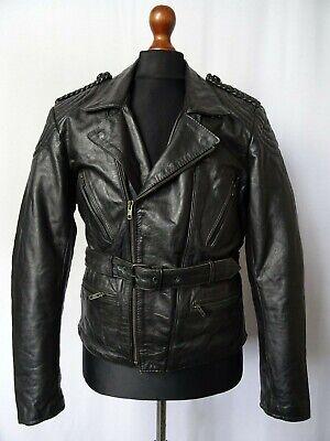 Men's Vintage Luftwaffe Style Black Leather Motorcycle Biker Jacket M 42R