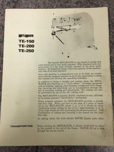 Lennox secrest metlmastr metlmaster instrutions pullmax TE-150 TE-200 TE-250