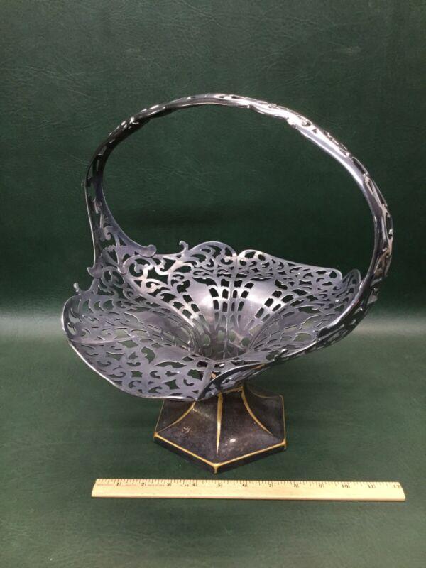 Antique Victorian Forbes Large Ornate Brides Basket Quadruple Silver-Plate