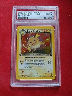 2000 Pokemon card Team Rocket Dark Raichu 1st edition holo #083 psa 10