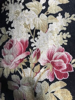 Antique French Fabric panel c1890 Napoleonic Toile Black And Roses Pinks 22