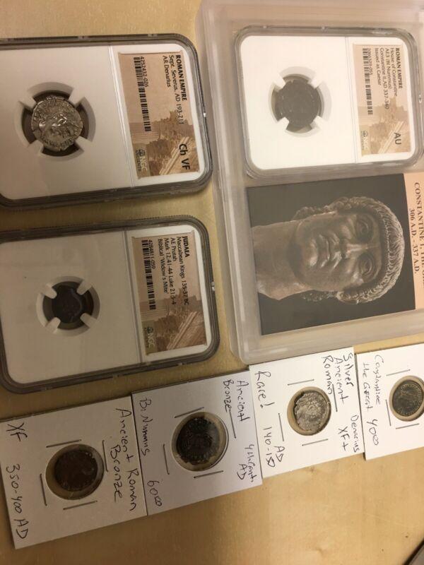 VERY RARE ANCIENT COIN COLLECTION - NGC, Silver, 2000+ YO Bible Coin, Bronze, AU