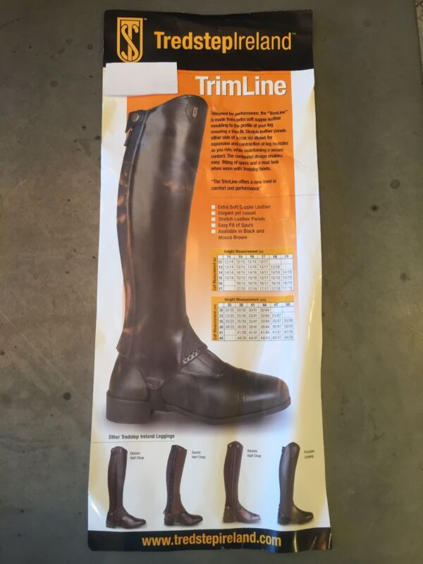 """New In Bag! Tredstep Trimline Black Leather Half Chaps 12"""" Calf, 15"""" Height"""
